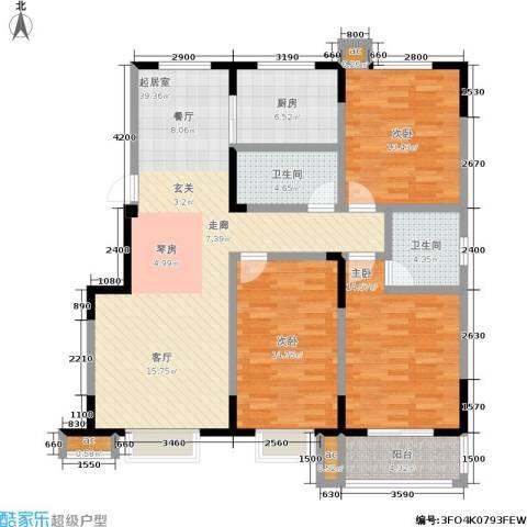 军蔷苑3室0厅2卫1厨135.00㎡户型图