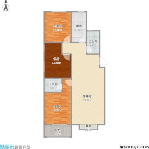 浅山逸景3室1厅2卫1厨122.00㎡户型图