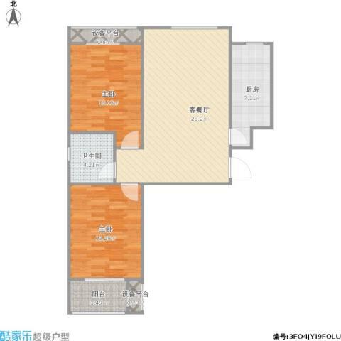 唐城一品2室1厅1卫1厨97.00㎡户型图