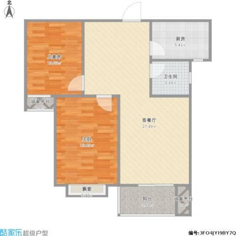 唐城一品2室1厅1卫1厨90.00㎡户型图