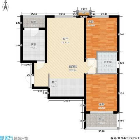 紫薇田园都市三期2室0厅1卫1厨94.00㎡户型图
