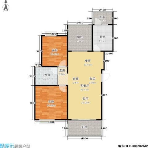 朗悦湾2室1厅1卫1厨90.00㎡户型图
