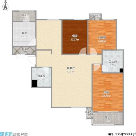 星湖国际花园3室1厅2卫1厨149.00㎡户型图