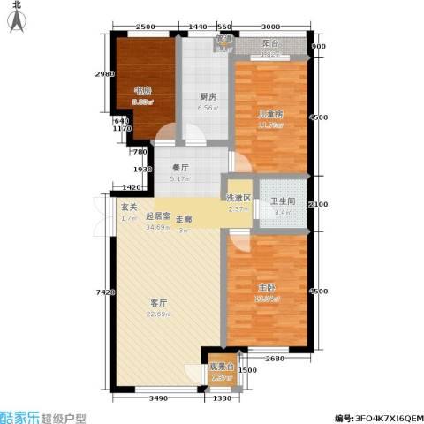 明华西江俪园3室0厅1卫1厨116.00㎡户型图