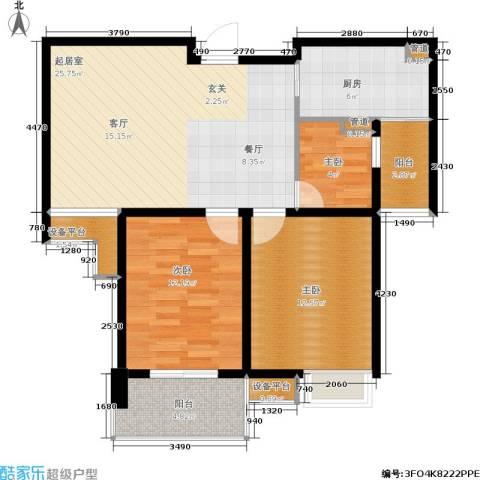 亚东国际公寓3室0厅0卫1厨70.85㎡户型图