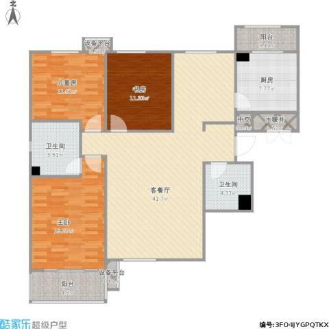 星湖国际花园3室1厅2卫1厨150.00㎡户型图