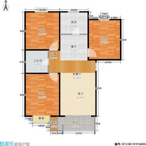 圣源新居3室1厅1卫1厨114.00㎡户型图