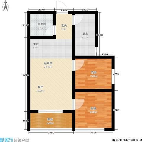 领秀城2室0厅1卫1厨81.00㎡户型图
