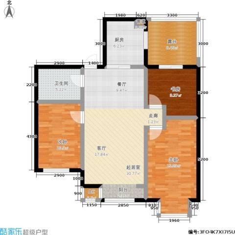 水木清华3室0厅1卫1厨104.00㎡户型图
