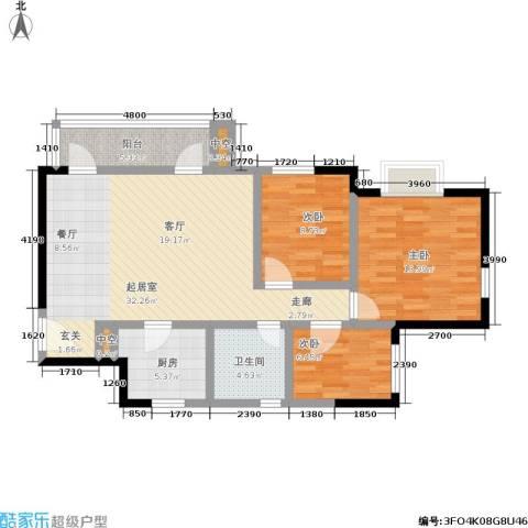 万科金色家园二期3室0厅1卫1厨90.00㎡户型图
