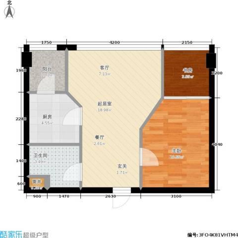 金港国际城2室0厅1卫1厨63.00㎡户型图