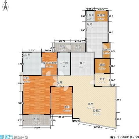 中茵皇冠国际2室1厅3卫1厨190.00㎡户型图