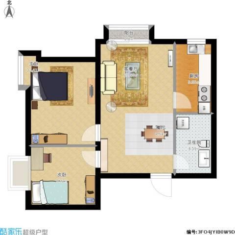 新兴中山八号2室1厅1卫1厨75.00㎡户型图