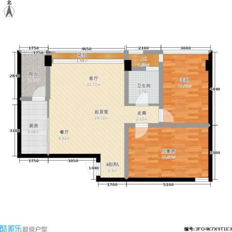 金港国际城2室0厅1卫1厨104.00㎡户型图
