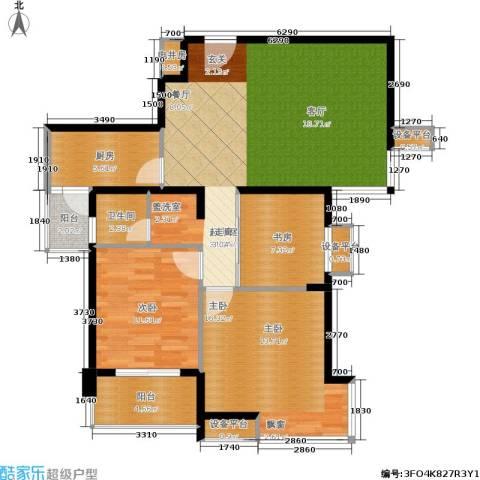 亚东国际公寓3室0厅1卫1厨89.00㎡户型图