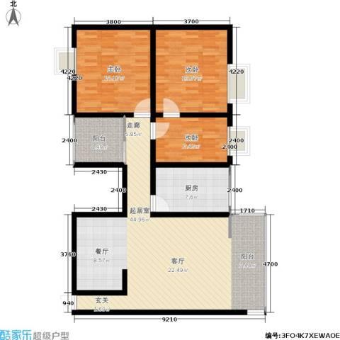 世纪明珠家园3室0厅0卫1厨112.00㎡户型图