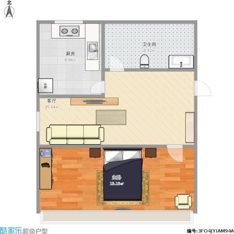 漪汾小区1室1厅1卫1厨59.00㎡户型图
