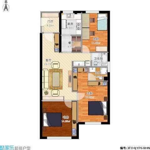 半山公馆3室2厅1卫1厨118.00㎡户型图