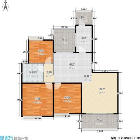 朗悦湾3室1厅1卫1厨101.08㎡户型图