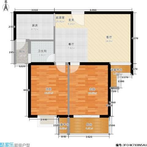亚东国际公寓2室0厅1卫1厨89.00㎡户型图