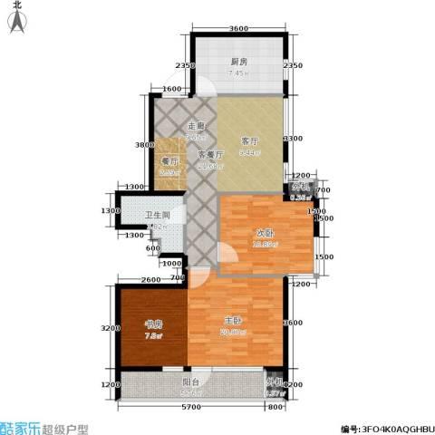 万科城三期一区2室1厅1卫1厨100.00㎡户型图