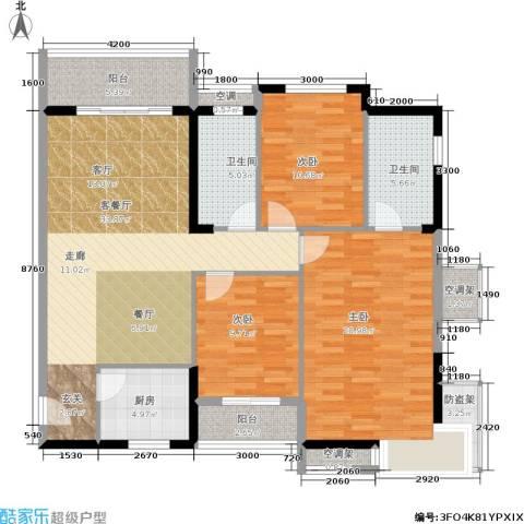 美林・银谷3室1厅2卫1厨130.00㎡户型图