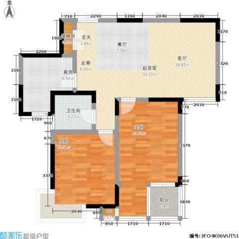 银城西堤国际2室0厅1卫1厨88.00㎡户型图