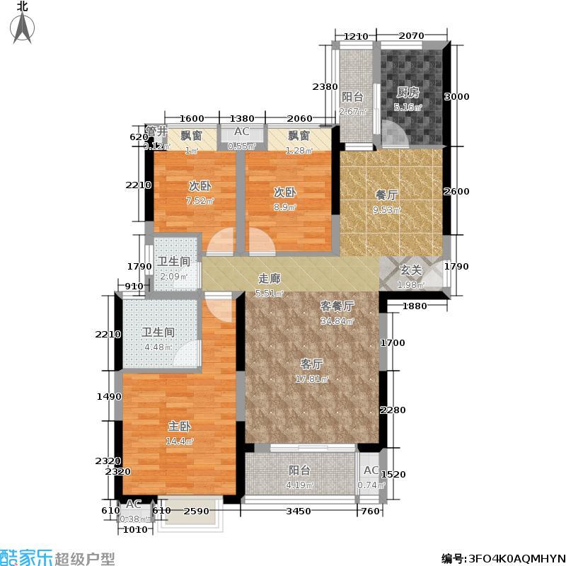 圣力华苑户型3室1厅2卫1厨