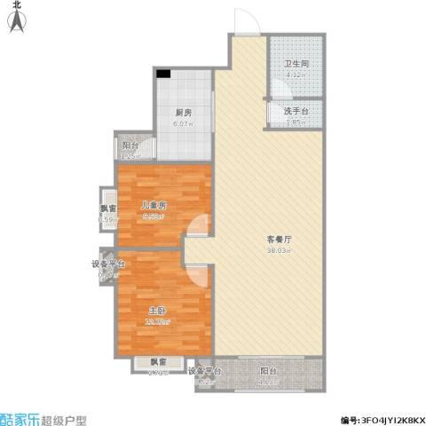 星湖国际花园2室1厅1卫1厨109.00㎡户型图