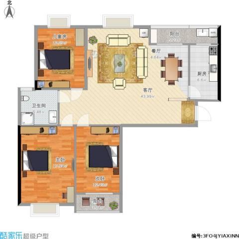 中天花园(西区)3室1厅1卫1厨144.00㎡户型图