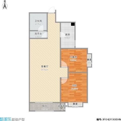 星湖国际花园2室1厅1卫1厨104.00㎡户型图