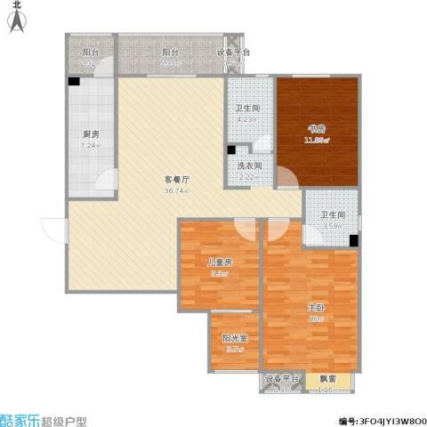 星湖国际花园3室1厅2卫1厨142.00㎡户型图