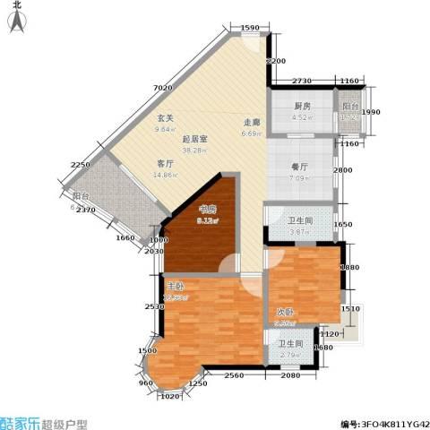 渝安龙都20053室0厅2卫1厨92.84㎡户型图