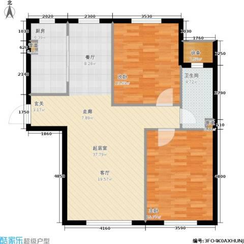 中房上东花墅二期2室0厅1卫1厨89.00㎡户型图