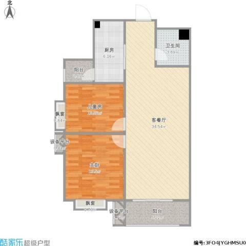 星湖国际花园2室1厅1卫1厨106.00㎡户型图