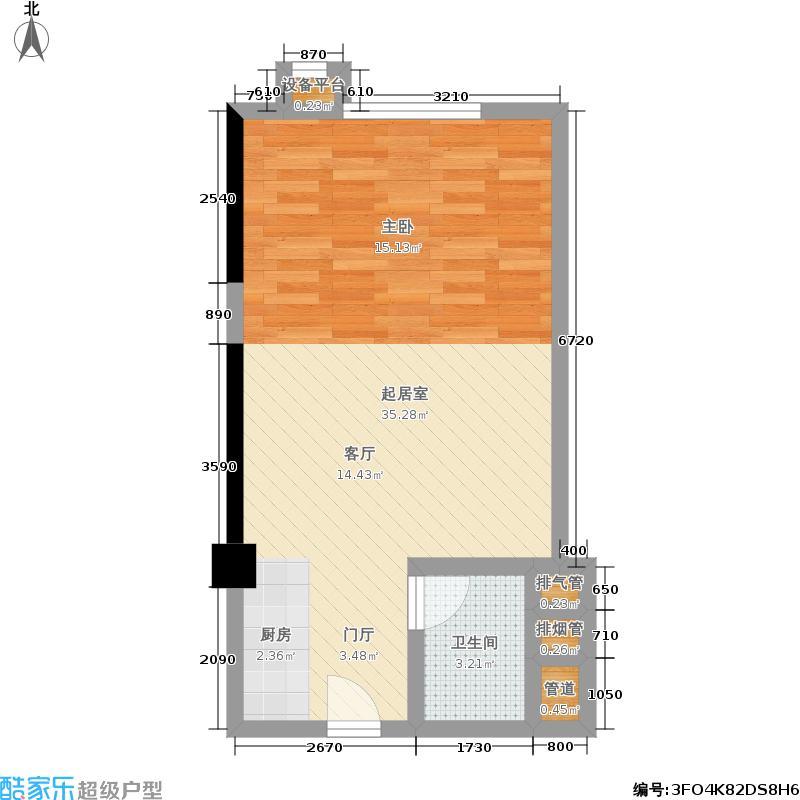 雄海雅苑51.46㎡5-14层B-1一居室户型