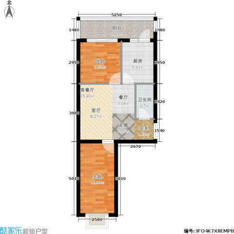 枫桥国际2室1厅1卫1厨49.45㎡户型图