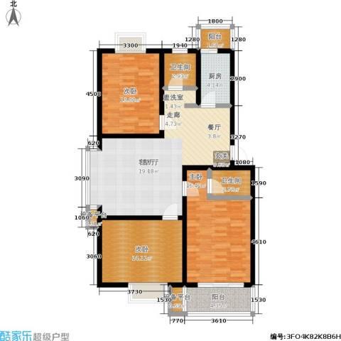 苏建艳阳居3室1厅2卫1厨97.00㎡户型图