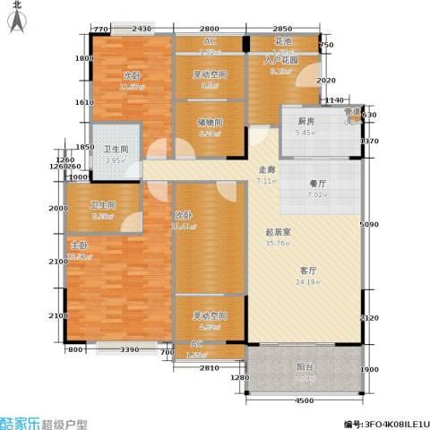 广物锦绣东方3室0厅2卫1厨126.74㎡户型图