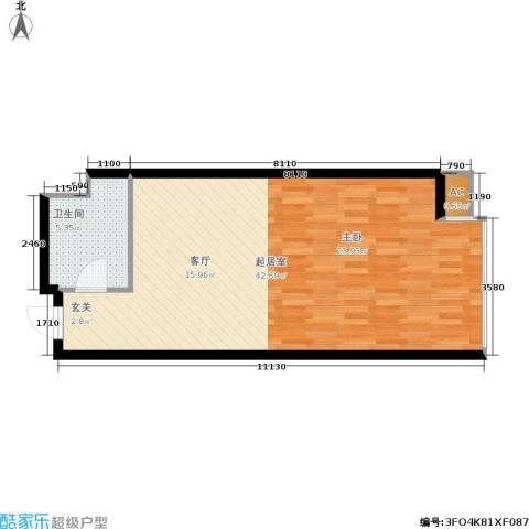丰光江景1卫0厨50.00㎡户型图