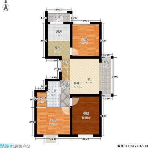 枫桥国际3室1厅1卫0厨70.00㎡户型图