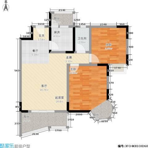 渝安龙都20052室0厅1卫1厨65.96㎡户型图