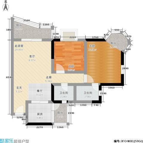 渝安龙都20052室0厅2卫1厨64.00㎡户型图