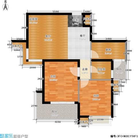 亚东国际公寓2室0厅1卫1厨72.47㎡户型图