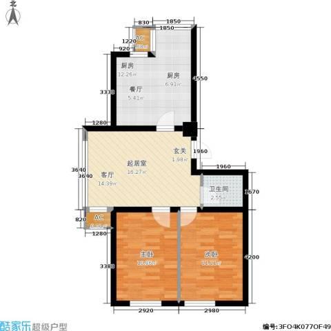 恒泰骏景2室0厅1卫1厨78.00㎡户型图