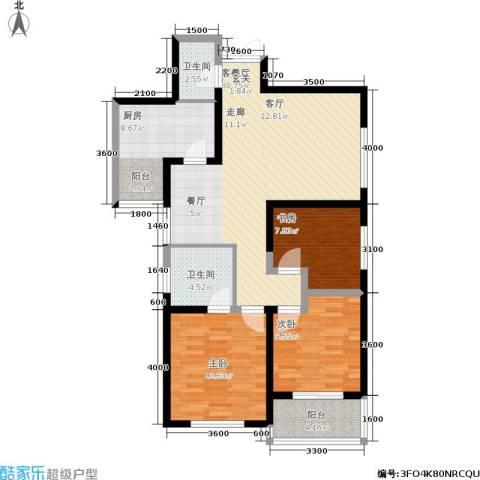 城市风景夏日景色3室1厅2卫1厨112.00㎡户型图