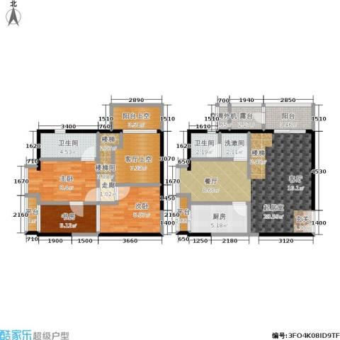 锦尚LOFT3室0厅2卫1厨86.09㎡户型图