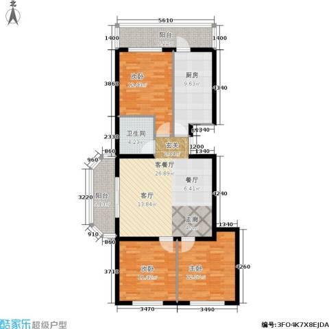 风车小镇3室1厅1卫1厨100.00㎡户型图