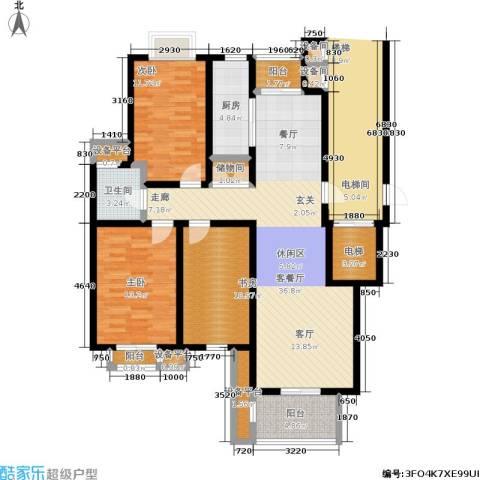 书香名门3室1厅1卫1厨127.00㎡户型图