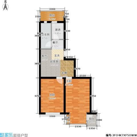 大学新城2室0厅1卫1厨62.27㎡户型图